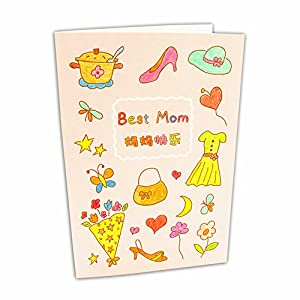 diy母亲节父亲节贺卡填色材料包 儿童涂色手绘生日感谢卡片自己做