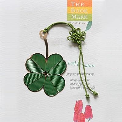 中国风创意 彩色金属书签 精美中国结 植物书签 树叶书签 绿色幸运