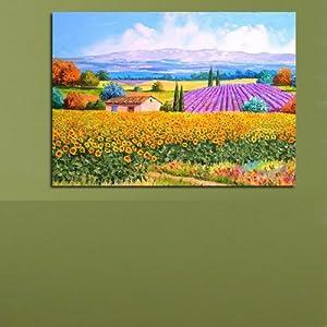 欧式餐厅壁画田园风格油画向日葵现代客厅
