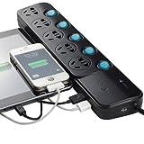 立乐AMUSIC  AM-51FU2 USB2100mA充电 插座 接线板 插板 插排插线板电源转换器 防雷防涌 5位独立开关 可充平板 手机 移动电源 蓝牙耳机等(全长1.8米)
