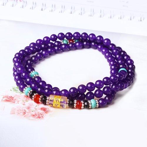 晶隆福 天然紫玉髓佛珠手链 紫色高贵神秘浪漫 女性最爱 增添魅力 圆珠润滑-图片