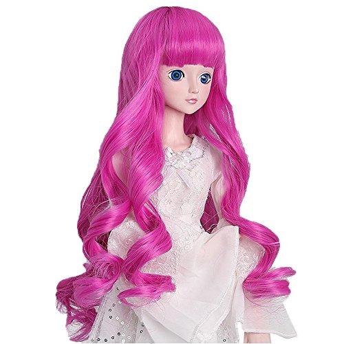 叶罗丽 精灵梦叶罗丽仙子娃娃假发头发套 改妆换妆配件 (玫红色卷发)图片