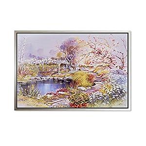 欧式唯美手绘风景装饰画客厅卧室挂画沙发墙壁画油画简约 b款(银框)