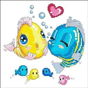 万众家园 十字绣 客厅动物画 儿童房 对吻鱼 11ct rs线 3股