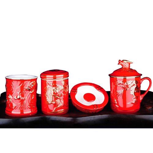 Snowwolf 雪狼 中国红 尊龙 茶杯 茶叶罐 烟灰缸 笔筒 办公四件套 陶瓷 手绘 集团定制 大唐源-图片