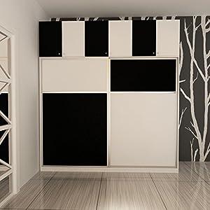 现代简约卧室衣柜整体自由组合衣橱大衣架储物柜板式置物架珍珠白配黑