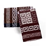 XiQue 喜鹊 100%纯棉缎边缎档提花面巾2条 棕、兰、红随机 76cm*34cm-图片