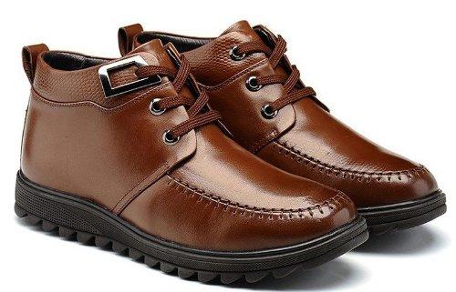 FGN 富贵鸟 休闲真皮商务正装加绒保暖透气优质橡胶底亮面皮鞋