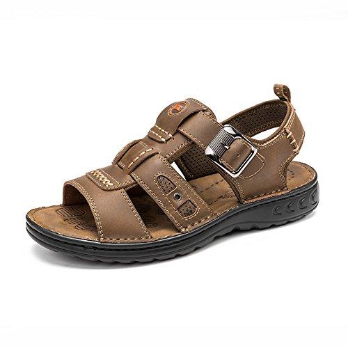 MULINSEN 木林森 凉鞋男夏季韩版真牛皮男士凉鞋子户外运动休闲透气沙滩鞋