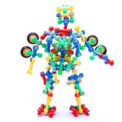 开心玛特 乐高式骨架结构棒 140粒骨架积木 塑料拼插拼装玩具 益智