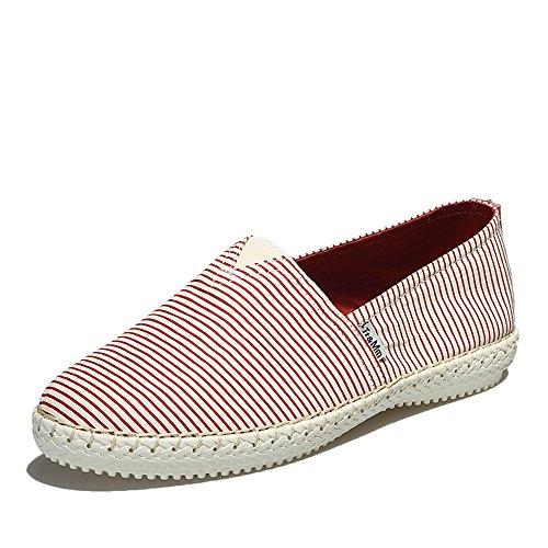 Tt&Mm 汤姆斯 男鞋新款休闲懒人鞋纯手工缝线条纹低帮帆布鞋466202M