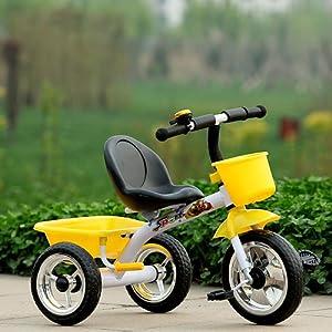 儿童三轮车脚蹬脚踏自行车实心轮胎带可后翻