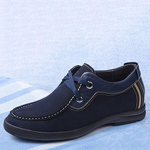 Gog 高哥 隐形内增高男鞋6cm男士增高鞋男式磨砂真皮鞋时尚休闲鞋秋季