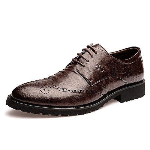 vancamel 西域骆驼 春季时尚商务皮鞋英伦男士布洛克雕花休闲鞋 男真皮皮鞋系带潮鞋1071