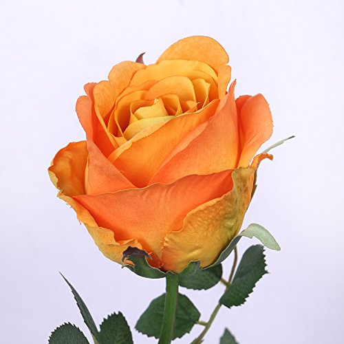 lver西尚玫瑰 仿真酒杯玫瑰花单支 欧式插花装饰花卉绢花假花 橙色玫