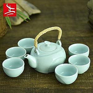 容量:茶壶300ml,茶杯51ml  一壶六杯礼盒装  功夫茶具,办公室休闲整套