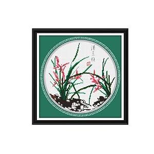 恋美印布十字绣 36229清兰雅(图案印在布上无需画格) 中格 11CT