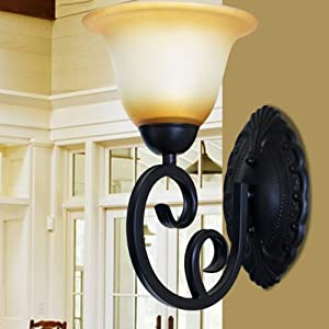 欧式灯 灯饰创意 客厅壁灯 铁艺灯 床头灯 壁灯w009/1 白罩哑黑色向上