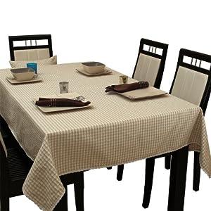 致惠 餐桌布布艺田园 蕾丝桌布台布茶几布 亚麻茶几桌布经典千鸟格 (140x200cm)