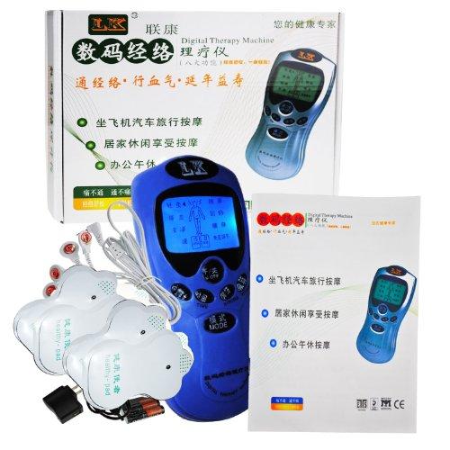 LK 联康 家庭数码经络按摩仪一台 (健康使者二代升级版)发光蓝屏一拖四电极板可同时作用于四个部位做按摩 (蓝色)-图片