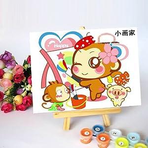 佳彩天颜 diy数字油画 客厅儿童卡通情侣手绘装饰画 快乐麦兜 快乐