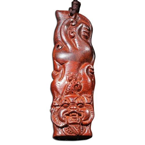 和卉堂 极品小叶紫檀一夜暴豹富手把件 钥匙挂件 红木雕刻工艺品(一个