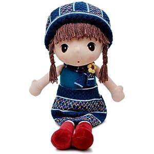 瑞奇比蒂 大眼睛田园女孩 长发娃娃玩偶 毛线蓝裙