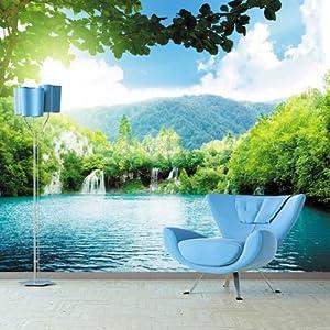 山水风景壁画 拓展空间墙纸客厅沙发 电视背景墙无缝壁画定制 lg浮雕