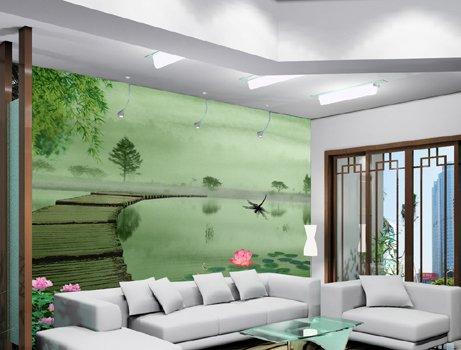 石桥荷花电视沙发背景墙 客厅酒店 壁画 壁纸 墙纸 渲绒布
