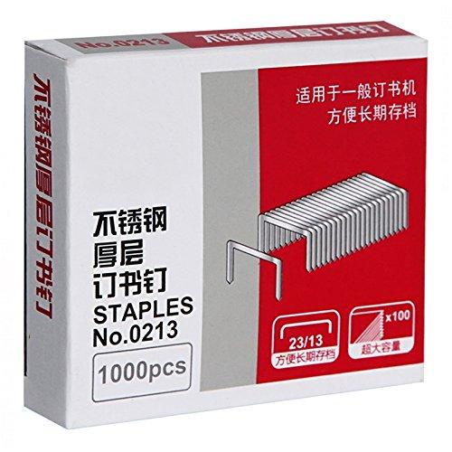 商品得力 厚层订书钉不锈钢钉书针23/13 1000枚/盒 可订100页 3盒装