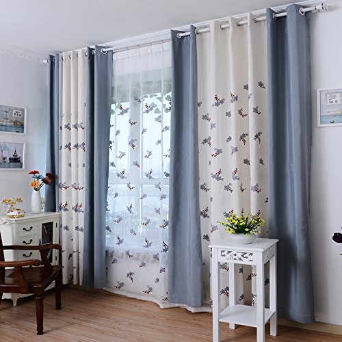 麻棉绣花客厅卧室餐厅儿童房窗帘 无染料绿色环保面料 (灰色拼接窗帘