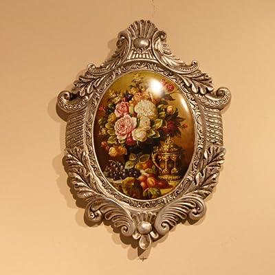 橡树庄园欧式复古树脂壁挂花卉油画图案椭圆壁饰客厅背景墙壁装饰 b款