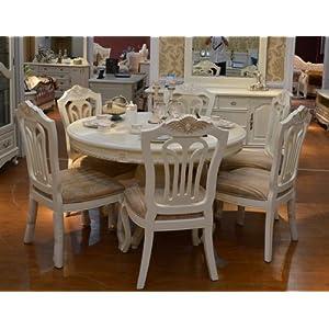 象牙白色欧式餐桌椅 组合橡木实木圆形餐桌小圆桌