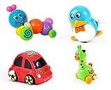 儿童上链玩具四个装 (可翻跟斗旋转小汽车,卡通长颈鹿,多彩立体毛毛虫,QQ企鹅)颜色随机-图片
