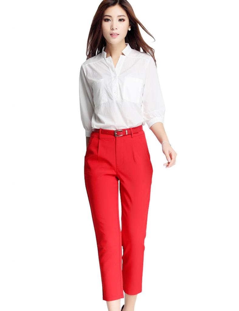 女式中袖衬衫_特思福 韩版夏季涤棉中袖女式衬衣 新款休闲九分裤两件套装 g311020