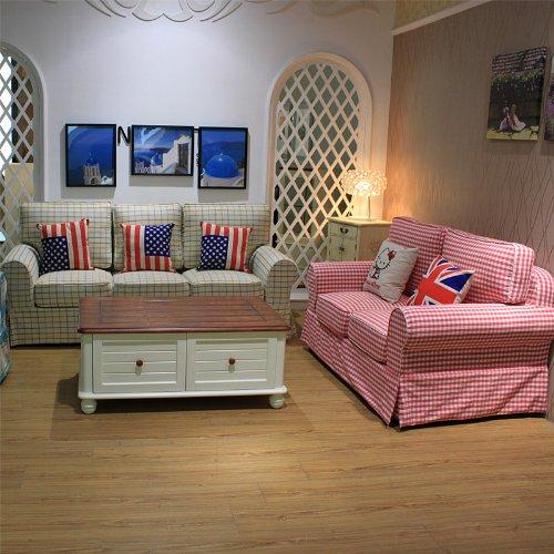 东居 美式沙发 地中海 田园风格 组合布艺沙发 混枕格子控 可定制图片