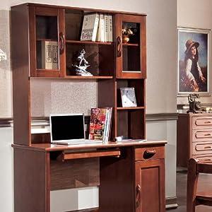 盛唐时代 实木电脑桌笔记本家用 书桌书架组合 写字台