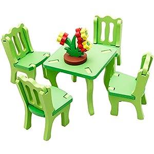 拔萃童品 3d模型木质 3d拼装家居 餐桌椅 立体拼图板