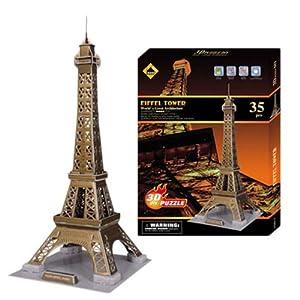 酷娃礼 巴黎埃菲尔铁塔 3d立体拼图玩具 建筑模型 难度-4星