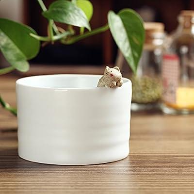 青釉陶瓷陶艺动物款-咖啡杯小猫(无柄)