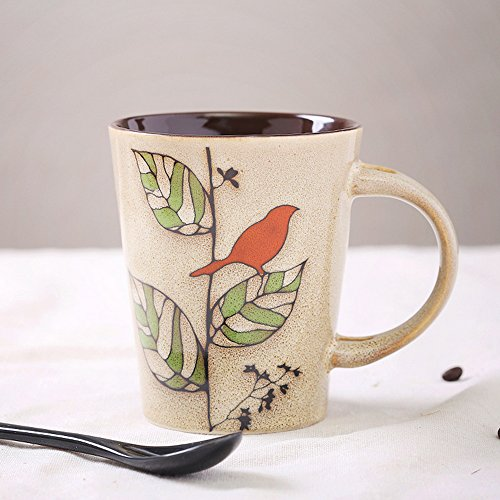 陶瓷杯子 个性特色手绘陶瓷马克杯 咖啡杯 复古茶水杯