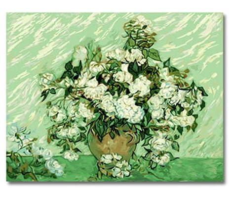 自油自画 数字油画 特价 客厅卧室手绘爱情风景壁画 梵高-白玫瑰 40