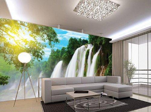 简修风格|瀑布山水电视沙发背景墙|客厅大型壁画壁布