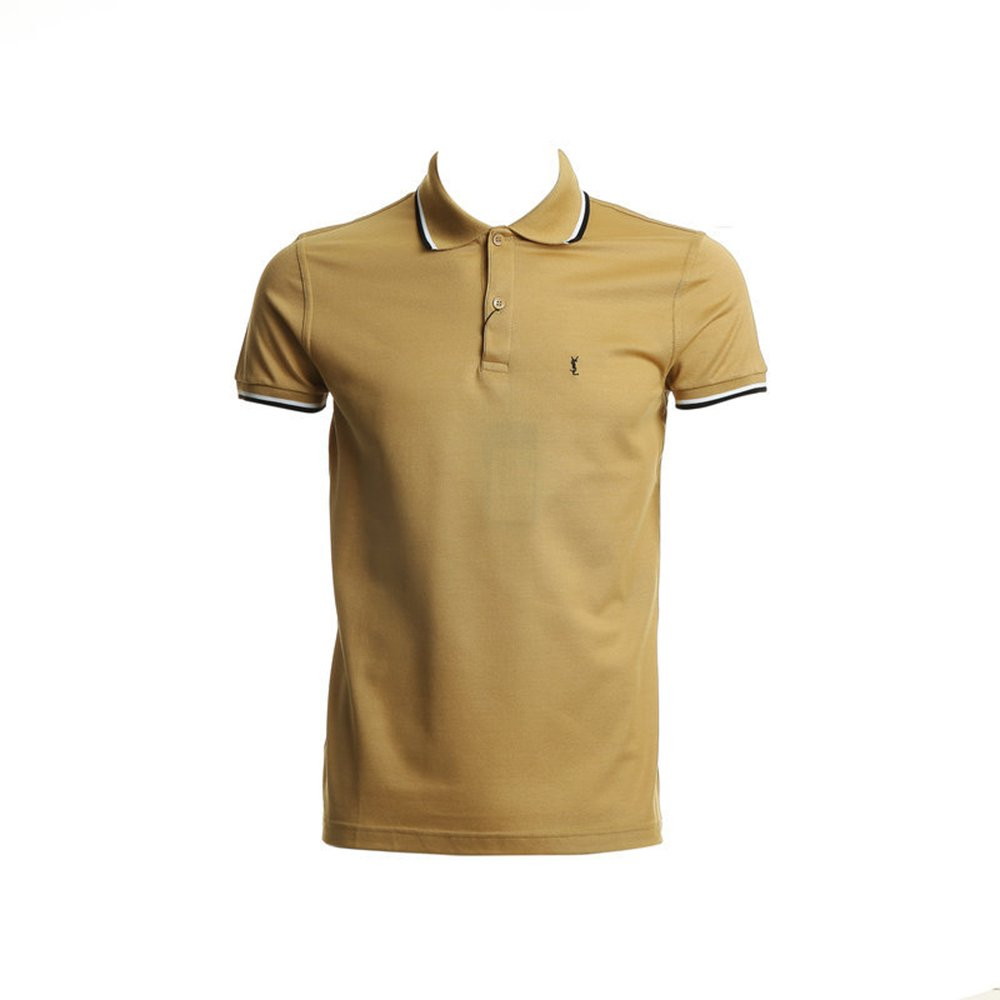 ysl 圣罗兰 男土黄色logo短袖上衣 343675 y2et1 7362