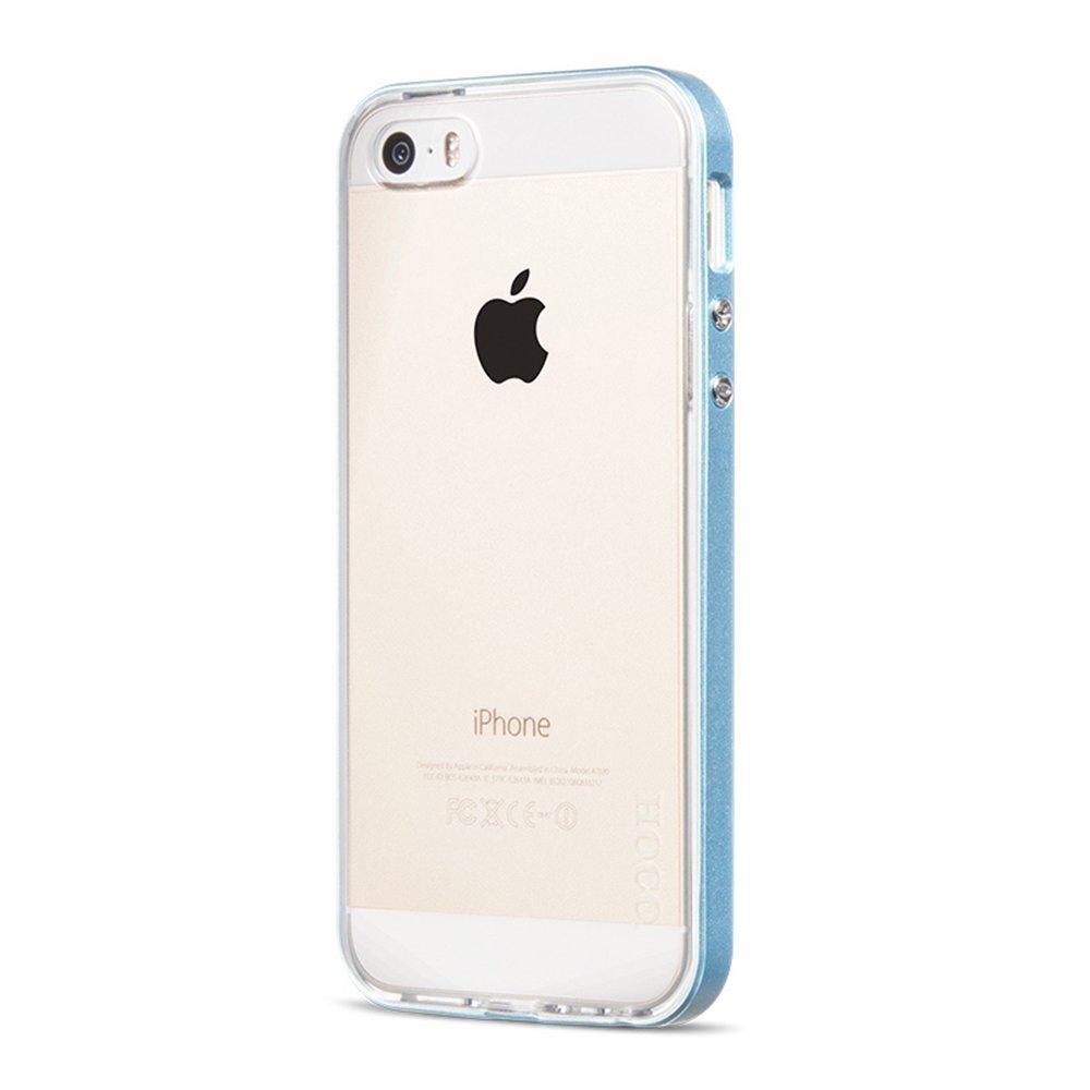 hoco 浩酷 苹果5手机壳iphone5s边框 5s手机套爱疯5硅胶软壳潮男 蓝色