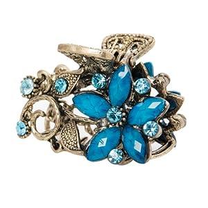 韓國YIBOYO飾品 官方正品 古典花紋 唯美花型 韓國進口 發夾 抓夾 (A-002藍色)