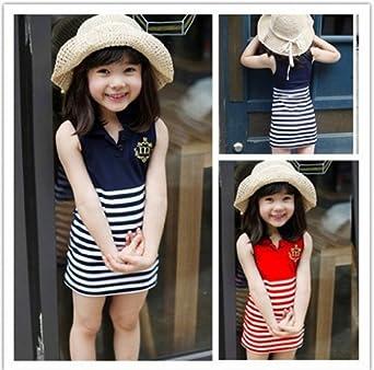 女童童装夏季2014新款潮版条纹徽章连衣裙
