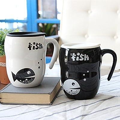 木晖(muhui) 创意黑白小鱼葫芦杯 陶瓷带盖情侣杯子 马克水杯 咖啡