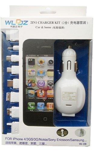 伟蓝达W-08  8合1万能车载家用一体充电器(带LED灯 5V-1000MA)可充市面上95%手机(苹果iphone全系、小米全系、三星、HTC、索爱、诺基亚、摩托罗拉、多普达、LG、飞利浦、联想、金立、CECT、天语、西门子、TCL、ZTC中天、夏普、黑莓、OPPO、夏新)-图片