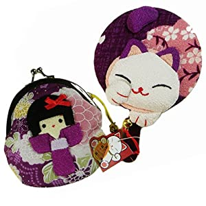 和风女孩零钱包颜色】:紫色 图案寓意: 【宝葫芦】:吸财纳福; 【金鱼